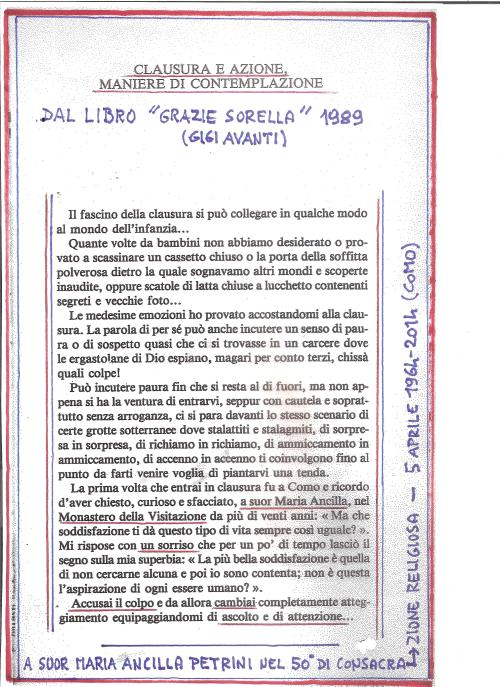 50 anni di clausura di suor Maria Ancilla